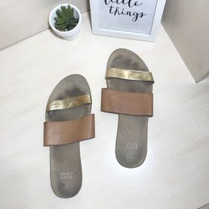 Eileen Fisher Double Strap Gold Sandals